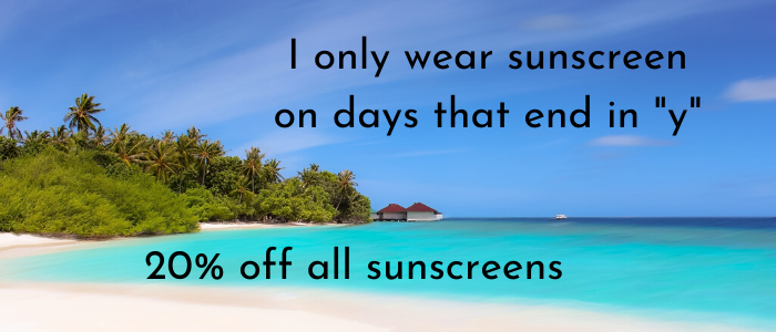 20% off all sunscreens